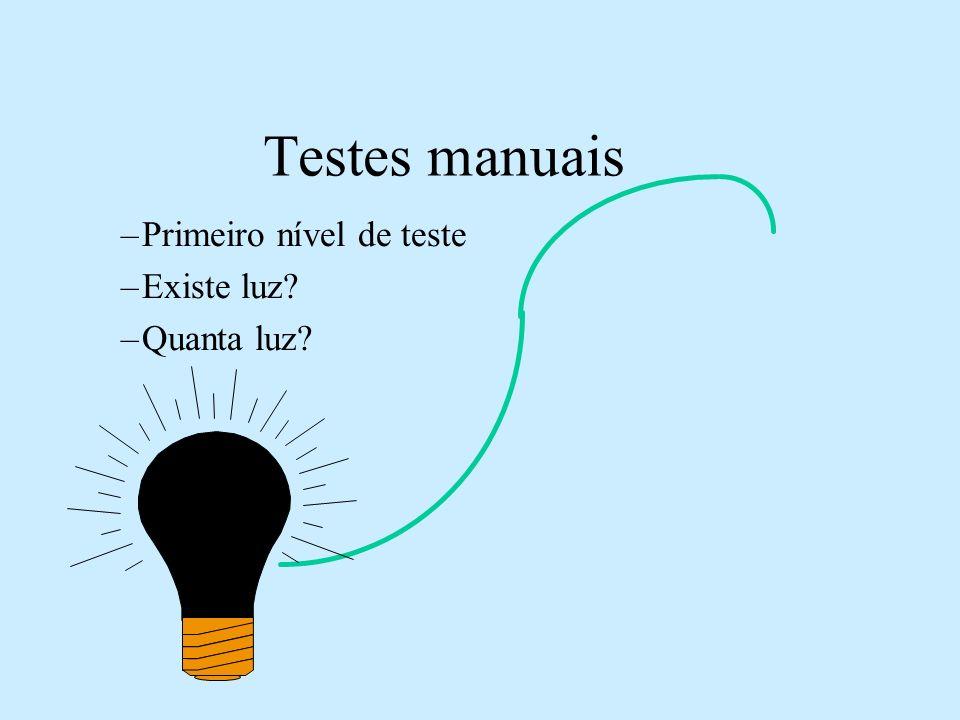 Testes manuais –Primeiro nível de teste –Existe luz? –Quanta luz?