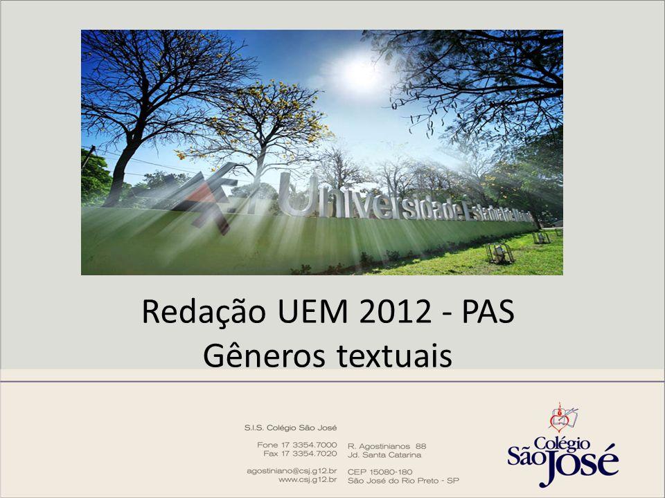 Redação UEM 2012 - PAS Gêneros textuais