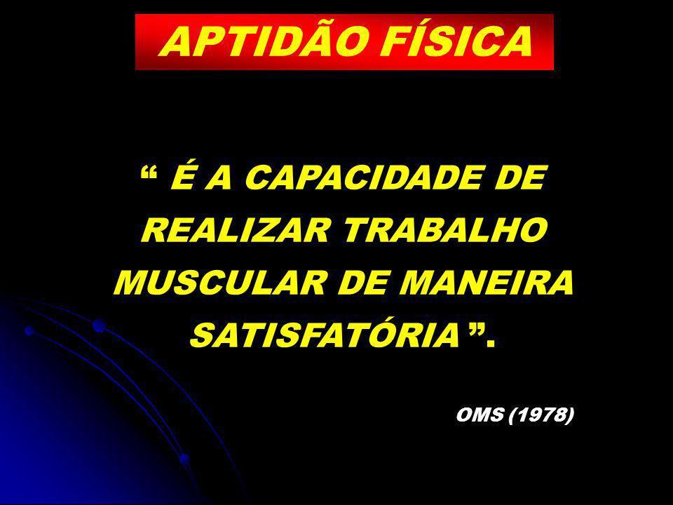 APTIDÃO FÍSICA É A CAPACIDADE DE REALIZAR TRABALHO MUSCULAR DE MANEIRA SATISFATÓRIA. OMS (1978)