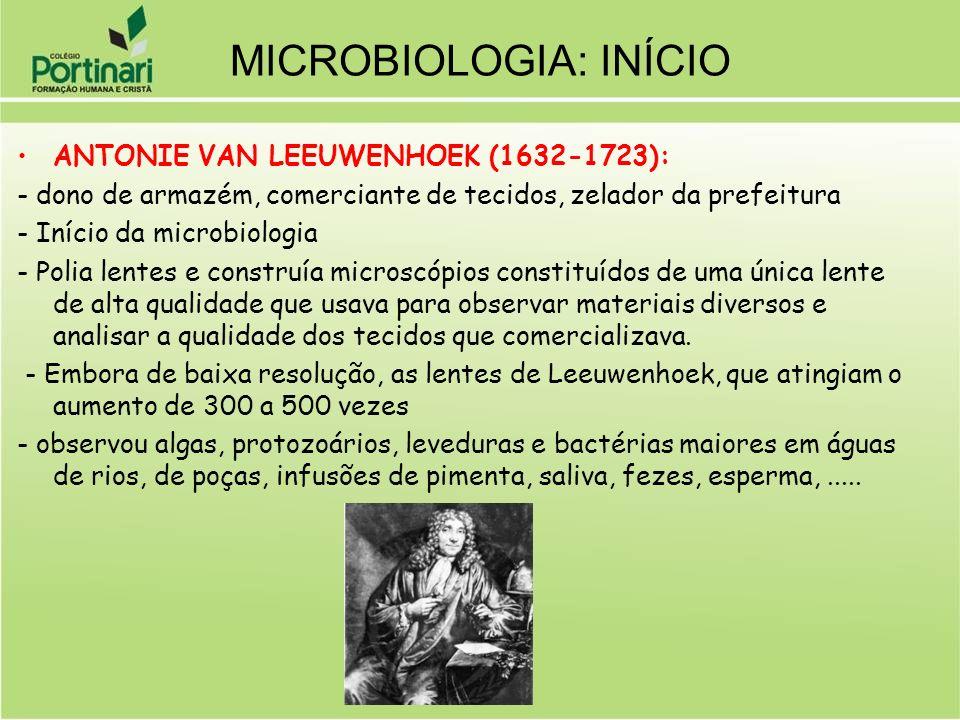 ANTONIE VAN LEEUWENHOEK (1632-1723): - dono de armazém, comerciante de tecidos, zelador da prefeitura - Início da microbiologia - Polia lentes e const