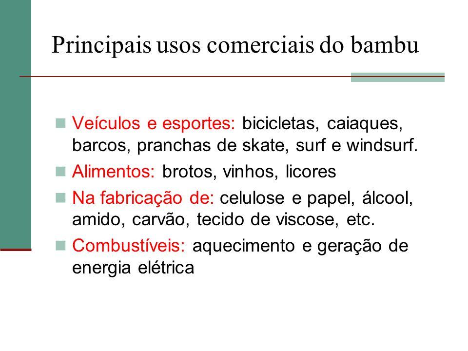 Principais usos comerciais do bambu Veículos e esportes: bicicletas, caiaques, barcos, pranchas de skate, surf e windsurf. Alimentos: brotos, vinhos,