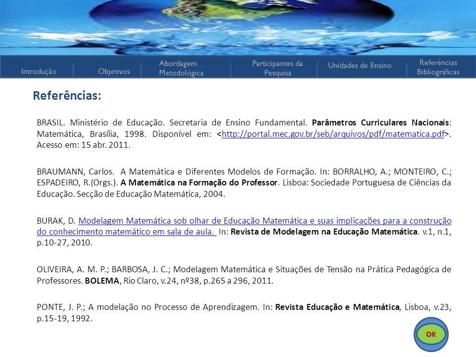 IntroduçãoObjetivos Abordagem Metodológica Participantes da Pesquisa Referências Bibliográficas Unidades de Ensino Referências: BRASIL. Ministério de