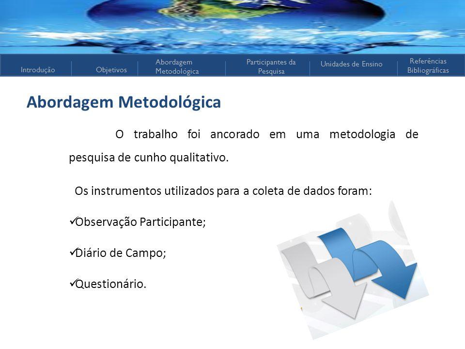 IntroduçãoObjetivos Abordagem Metodológica Participantes da Pesquisa Referências Bibliográficas Unidades de Ensino Abordagem Metodológica O trabalho f