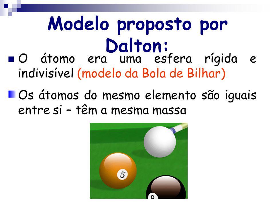 2.Dalton, Rutherford e Bohr propuseram, em diferentes épocas, modelos atômicos.