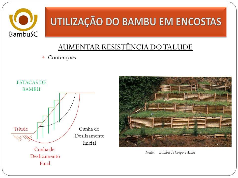 AUMENTAR RESISTÊNCIA DO TALUDE Muro de arrimo Fonte: Infra-estrutura Habitacional Alternativa Juan Luis Marscaró