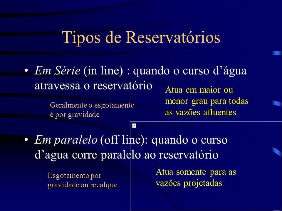Tipos de Reservatórios Em Série (in line) : quando o curso dágua atravessa o reservatório Em paralelo (off line): quando o curso dagua corre paralelo