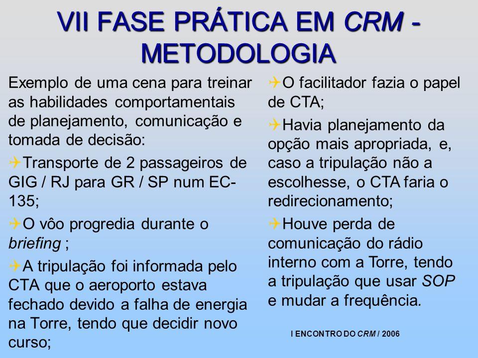 I ENCONTRO DO CRM / 2006 VII FASE PRÁTICA EM CRM - METODOLOGIA Exemplo de uma cena para treinar as habilidades comportamentais de planejamento, comuni