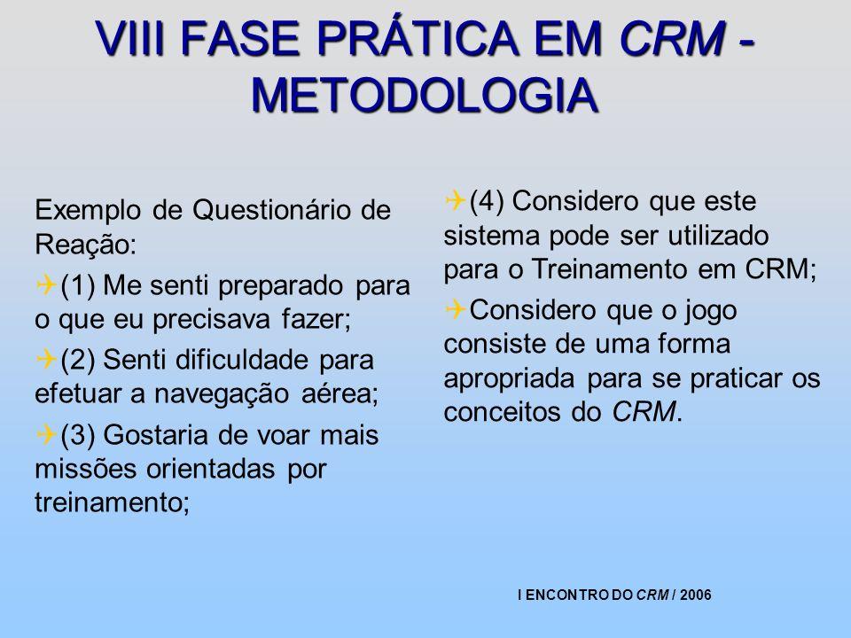 I ENCONTRO DO CRM / 2006 VIII FASE PRÁTICA EM CRM - METODOLOGIA Exemplo de Questionário de Reação: (1) Me senti preparado para o que eu precisava faze