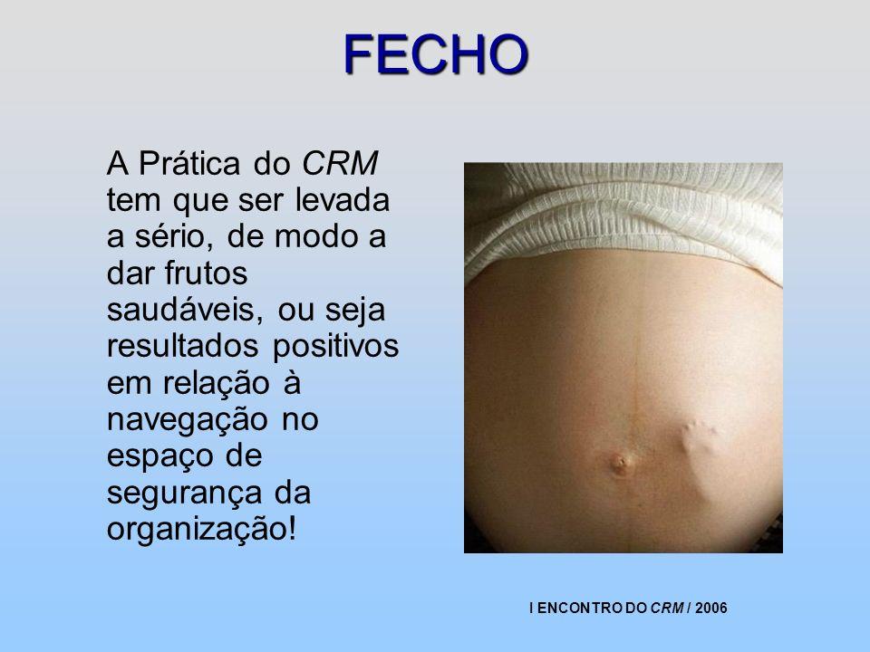 I ENCONTRO DO CRM / 2006 FECHO A Prática do CRM tem que ser levada a sério, de modo a dar frutos saudáveis, ou seja resultados positivos em relação à