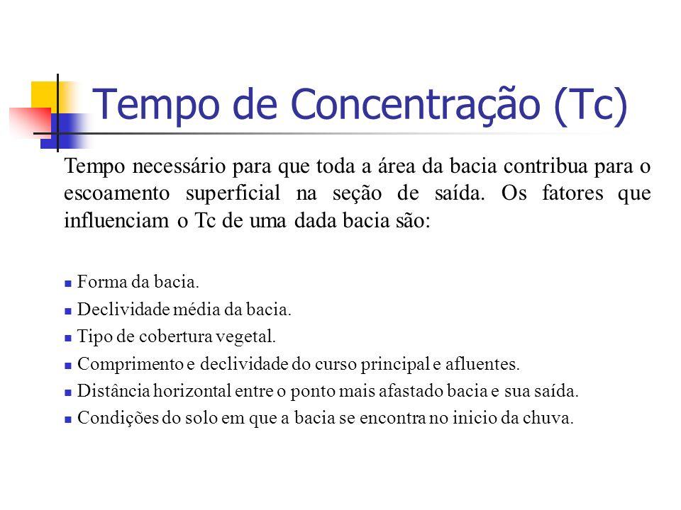 Tempo de Concentração (Tc) Tempo necessário para que toda a área da bacia contribua para o escoamento superficial na seção de saída. Os fatores que in
