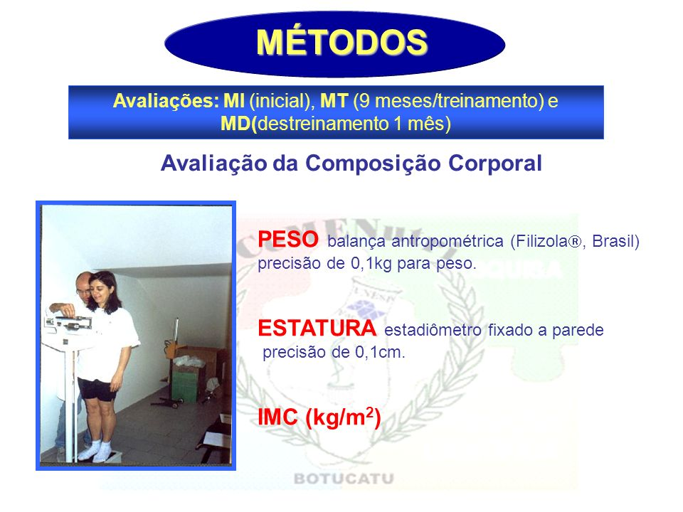 MÉTODOS Avaliações: MI (inicial), MT (9 meses/treinamento) e MD(destreinamento 1 mês) PESO balança antropométrica (Filizola, Brasil) precisão de 0,1kg