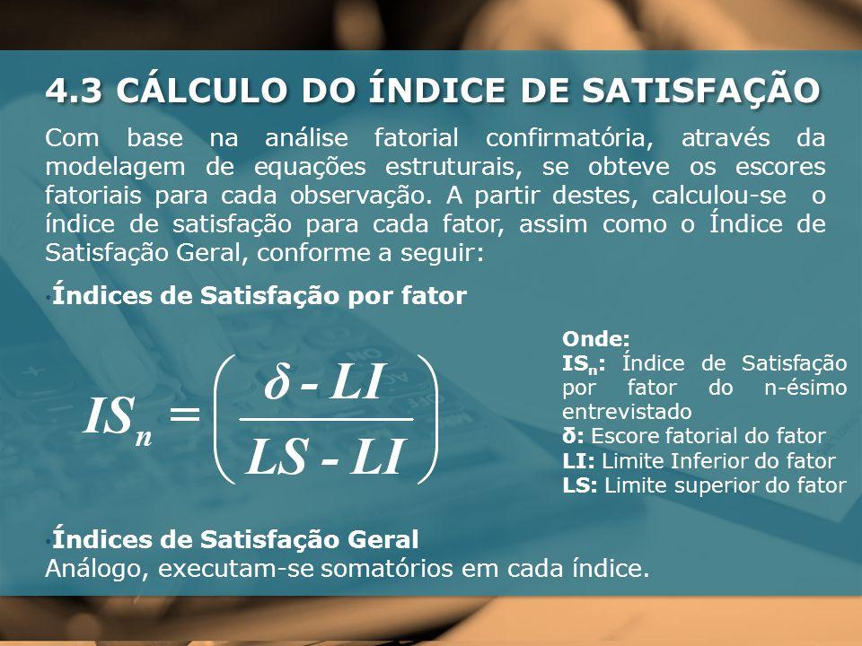 4.3 CÁLCULO DO ÍNDICE DE SATISFAÇÃO Com base na análise fatorial confirmatória, através da modelagem de equações estruturais, se obteve os escores fatoriais para cada observação.