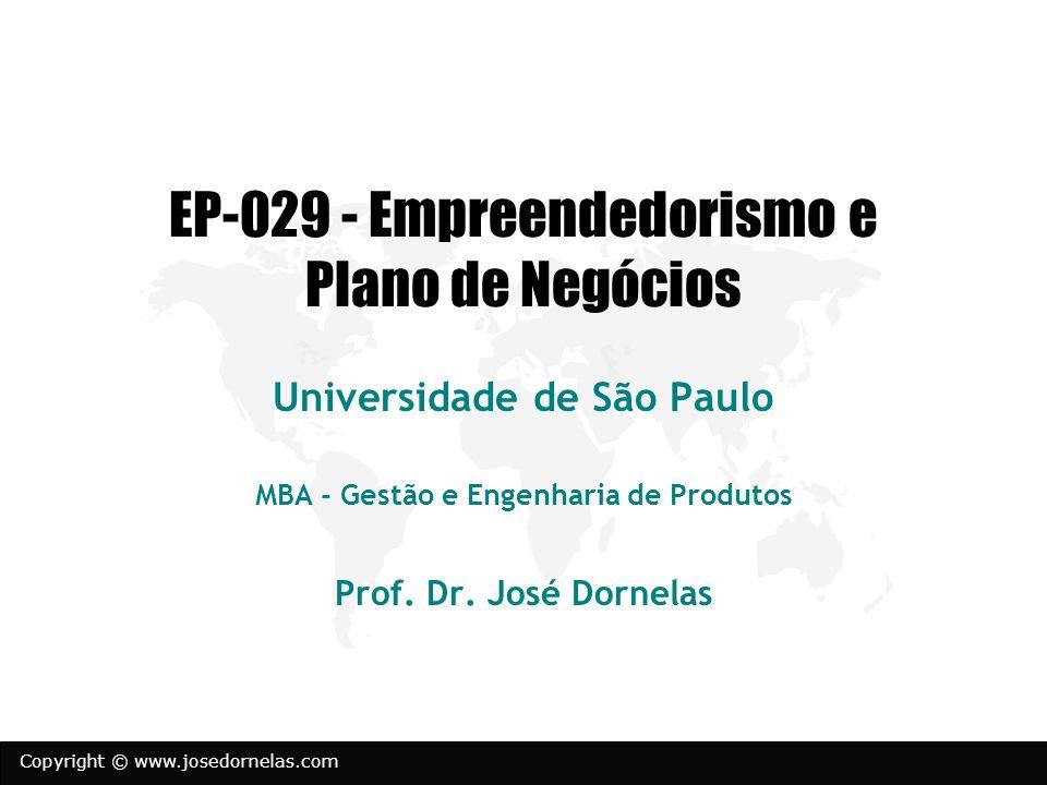 Copyright © www.josedornelas.com EP-029 - Empreendedorismo e Plano de Negócios Universidade de São Paulo MBA - Gestão e Engenharia de Produtos Prof. D
