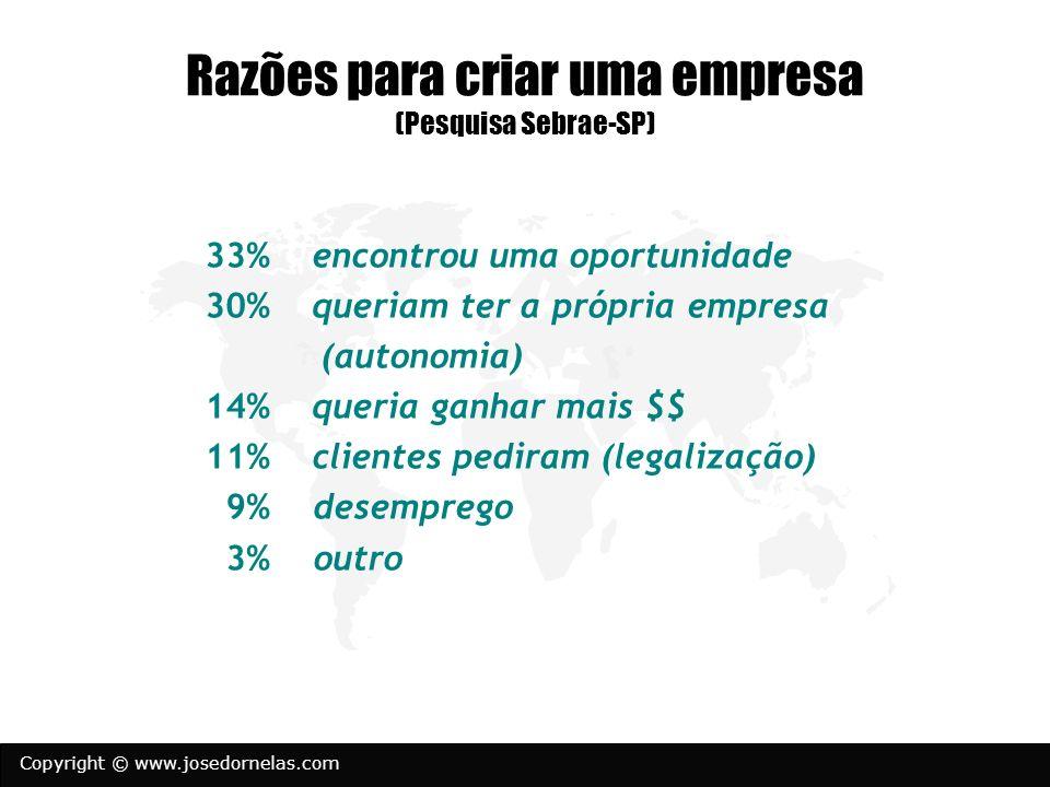 Copyright © www.josedornelas.com Razões para criar uma empresa (Pesquisa Sebrae-SP) 33% encontrou uma oportunidade 30% queriam ter a própria empresa (