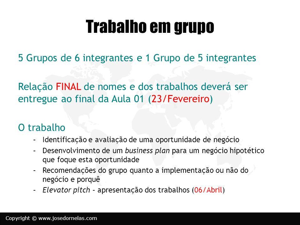Copyright © www.josedornelas.com Trabalho em grupo 5 Grupos de 6 integrantes e 1 Grupo de 5 integrantes Relação FINAL de nomes e dos trabalhos deverá