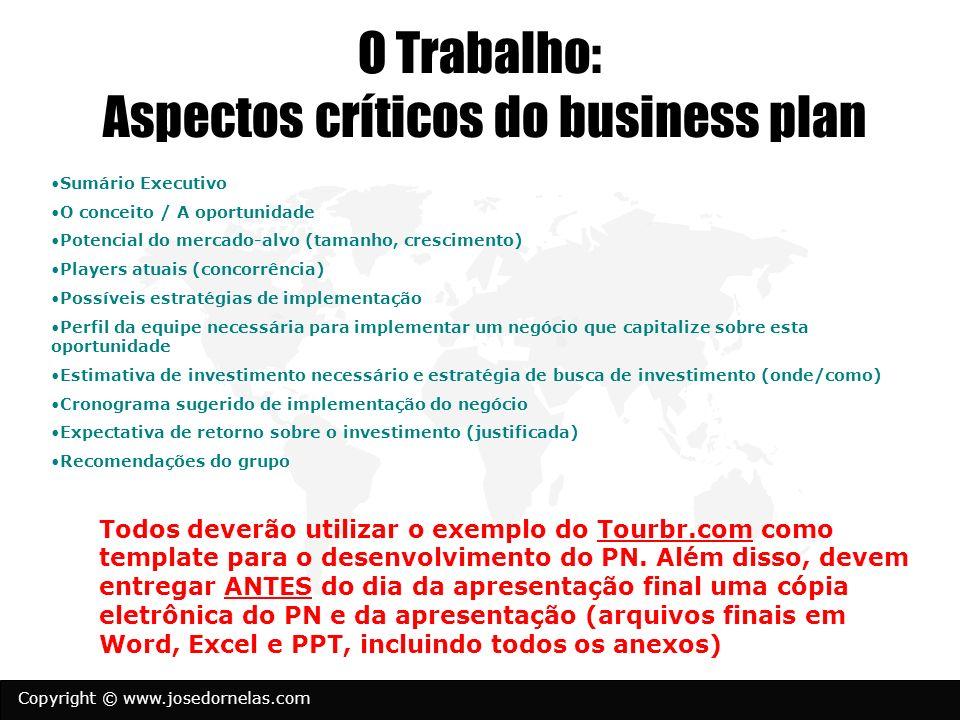 Copyright © www.josedornelas.com O Trabalho: Aspectos críticos do business plan Sumário Executivo O conceito / A oportunidade Potencial do mercado-alv