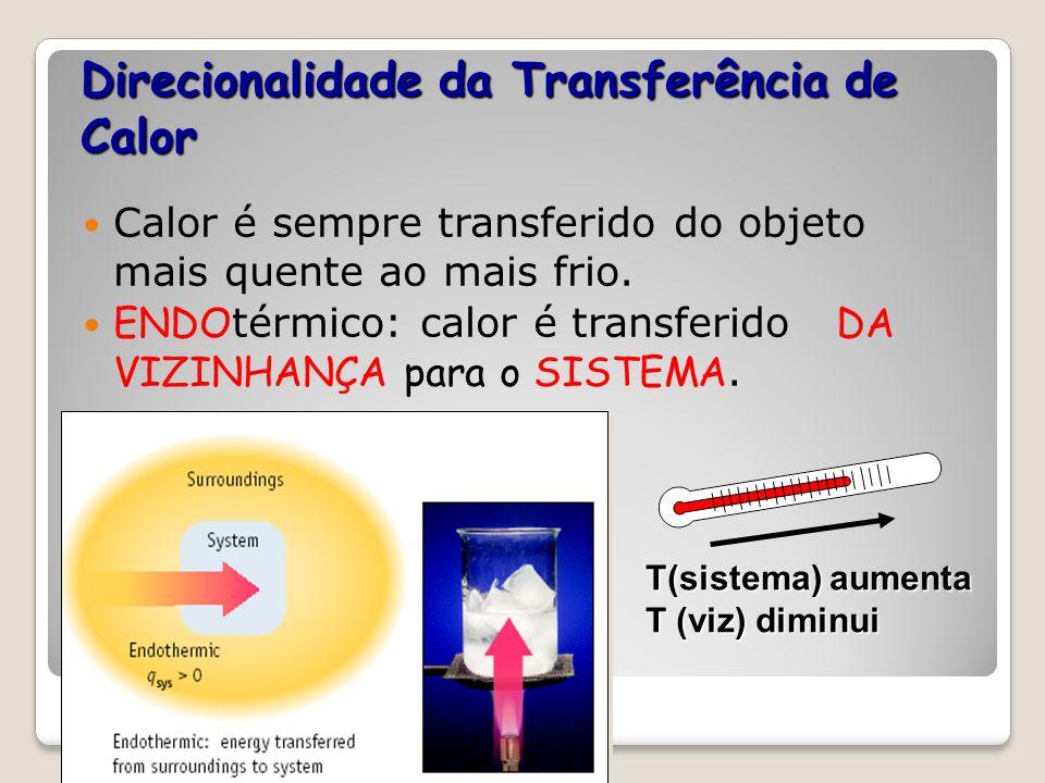 Direcionalidade da Transferência de Calor Calor é sempre transferido do objeto mais quente ao mais frio. EXO térmico: O calor é transferido DO SISTEMA