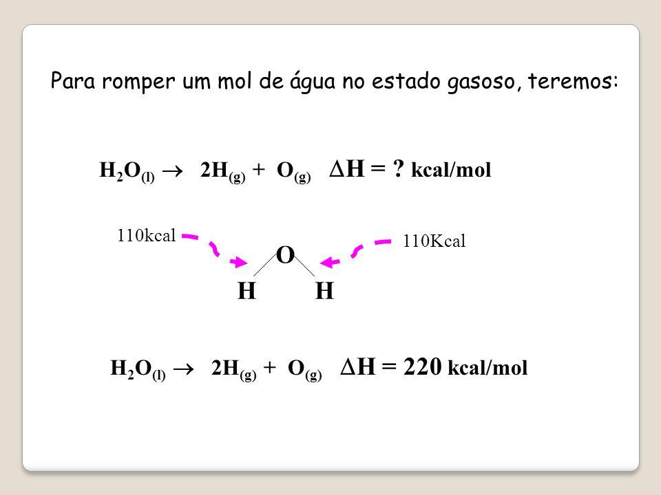 ENERGIA DE LIGAÇÃO É A ENERGIA NECESSÁRIA PARA ROMPER UM MOL DE LIGAÇÃO DE UMA SUBSTÂNCIA NO ESTADO GASOSO. EX. Para romper um de ligação H – O são ne