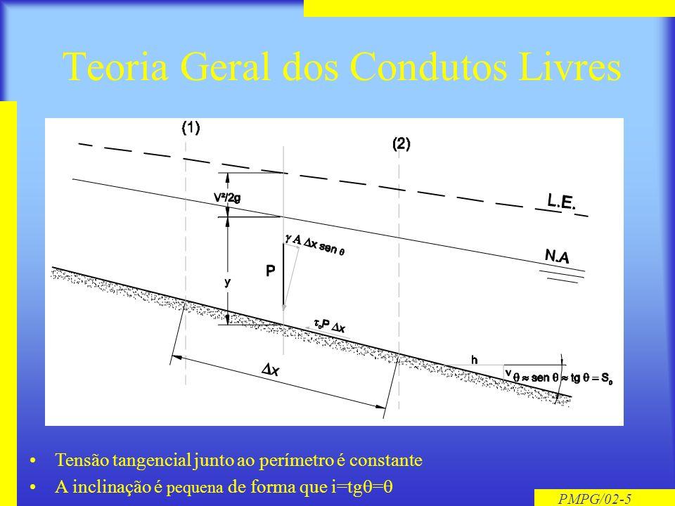 PMPG/02-5 Teoria Geral dos Condutos Livres Tensão tangencial junto ao perímetro é constante A inclinação é pequena de forma que i=tg =