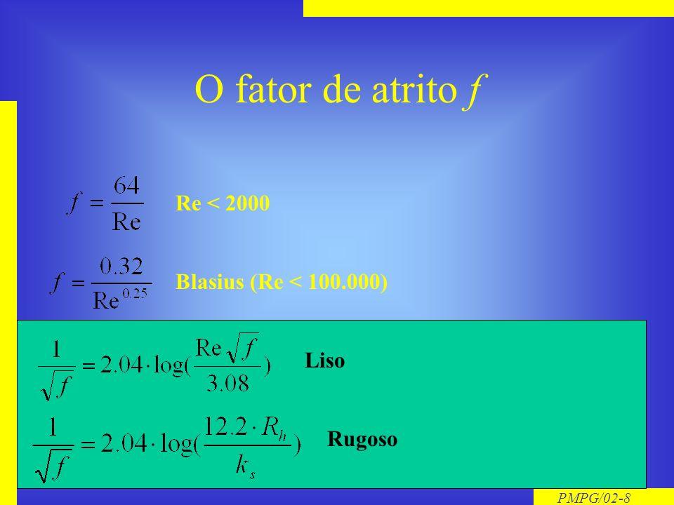 PMPG/02-8 O fator de atrito f Re < 2000 Blasius (Re < 100.000) Liso Rugoso