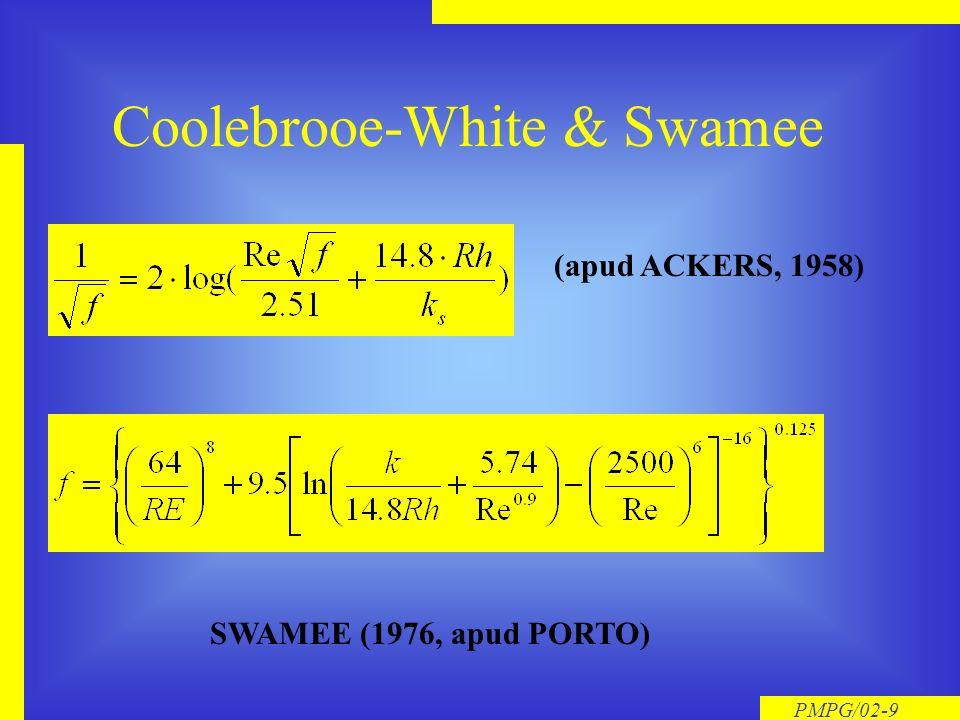 PMPG/02-9 Coolebrooe-White & Swamee (apud ACKERS, 1958) SWAMEE (1976, apud PORTO)