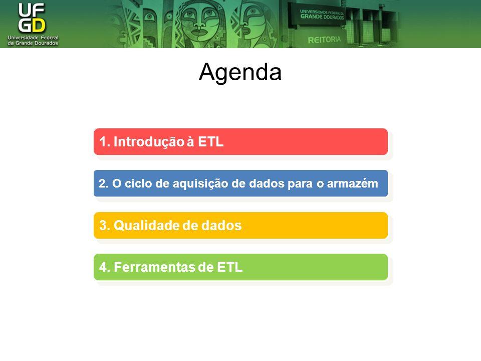 Agenda 1.Introdução à ETL 1. Introdução à ETL 2. O ciclo de aquisição de dados para o armazém 2.