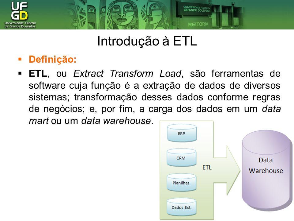 Introdução à ETL Definição: ETL, ou Extract Transform Load, são ferramentas de software cuja função é a extração de dados de diversos sistemas; transformação desses dados conforme regras de negócios; e, por fim, a carga dos dados em um data mart ou um data warehouse.