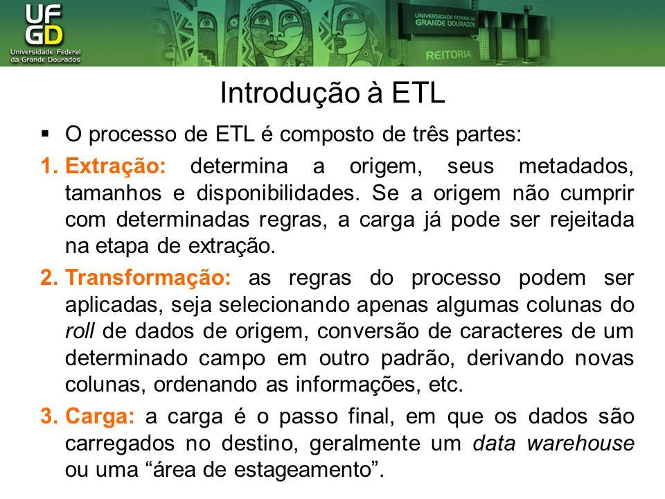 Introdução à ETL O processo de ETL é composto de três partes: 1.Extração: determina a origem, seus metadados, tamanhos e disponibilidades.