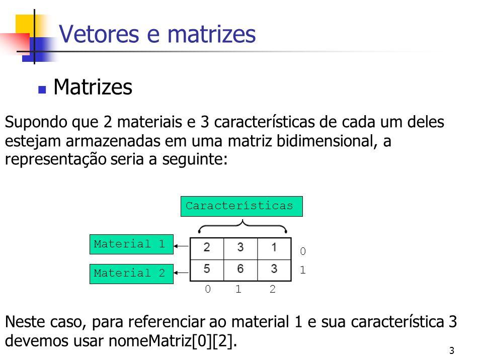 3 Vetores e matrizes Matrizes Supondo que 2 materiais e 3 características de cada um deles estejam armazenadas em uma matriz bidimensional, a representação seria a seguinte: Material 1 Material 2 Características Neste caso, para referenciar ao material 1 e sua característica 3 devemos usar nomeMatriz[0][2].
