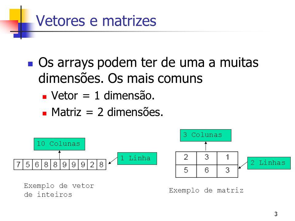 3 Vetores e matrizes Os arrays podem ter de uma a muitas dimensões. Os mais comuns Vetor = 1 dimensão. Matriz = 2 dimensões. Exemplo de vetor de intei