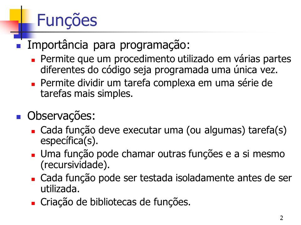2 Funções Importância para programação: Permite que um procedimento utilizado em várias partes diferentes do código seja programada uma única vez. Per