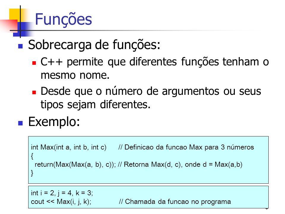 6 Funções Sobrecarga de funções: C++ permite que diferentes funções tenham o mesmo nome. Desde que o número de argumentos ou seus tipos sejam diferent