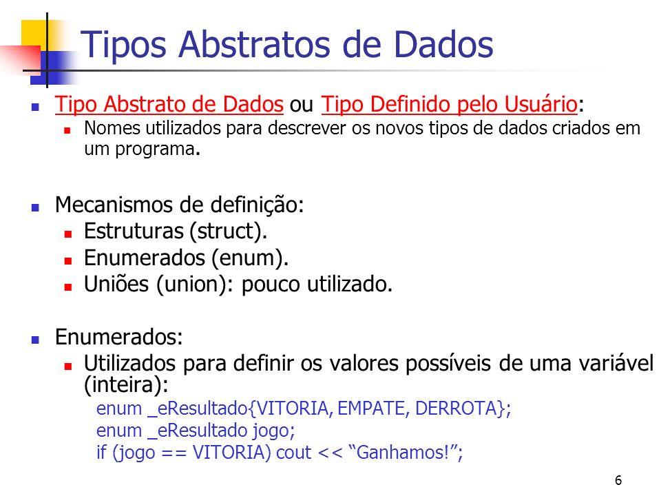6 Tipos Abstratos de Dados Tipo Abstrato de Dados ou Tipo Definido pelo Usuário: Nomes utilizados para descrever os novos tipos de dados criados em um