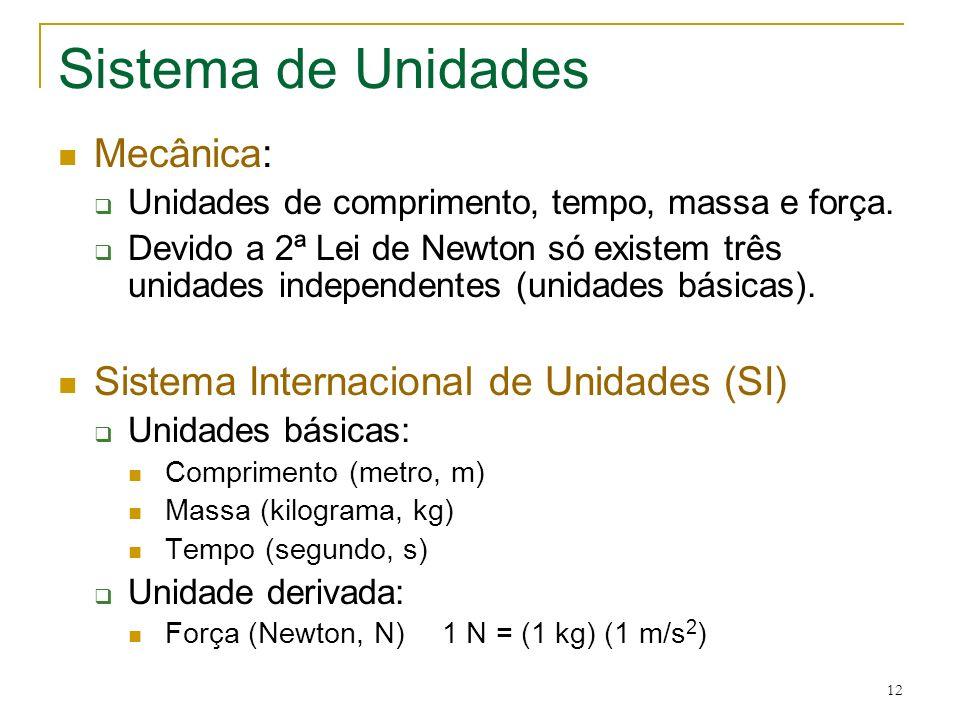 12 Sistema de Unidades Mecânica: Unidades de comprimento, tempo, massa e força. Devido a 2ª Lei de Newton só existem três unidades independentes (unid