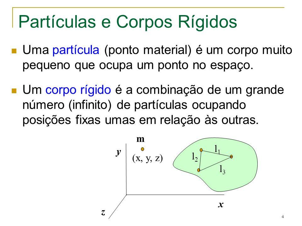 4 Partículas e Corpos Rígidos Uma partícula (ponto material) é um corpo muito pequeno que ocupa um ponto no espaço. Um corpo rígido é a combinação de