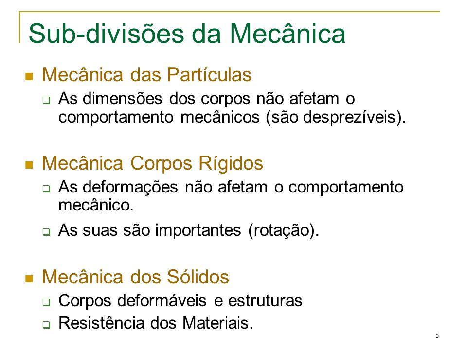 5 Sub-divisões da Mecânica Mecânica das Partículas As dimensões dos corpos não afetam o comportamento mecânicos (são desprezíveis). Mecânica Corpos Rí