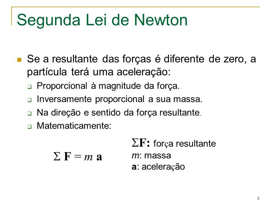 8 Segunda Lei de Newton Se a resultante das forças é diferente de zero, a partícula terá uma aceleração: Proporcional à magnitude da força. Inversamen