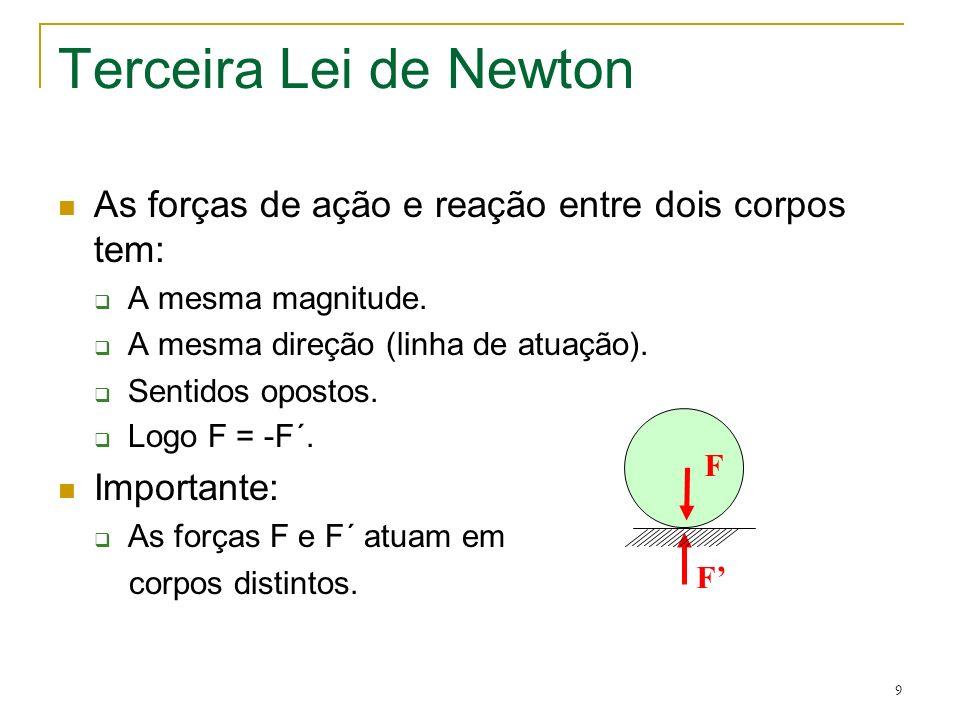 9 Terceira Lei de Newton As forças de ação e reação entre dois corpos tem: A mesma magnitude. A mesma direção (linha de atuação). Sentidos opostos. Lo
