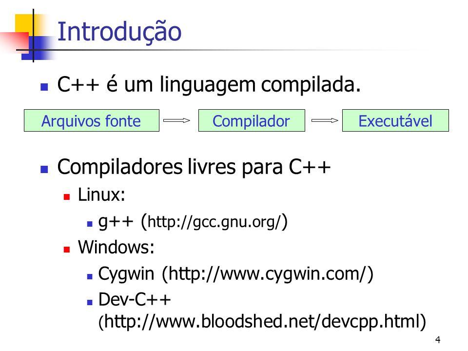 3 Introdução C++ é uma evolução da linguagem C Criada por Bjarne Stroustrup na década de 80 (http://www.research.att.com/~bs/) C++ É uma linguagem de