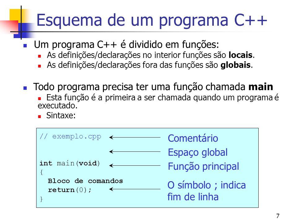 6 Dev-C++ Editor Janela auxiliar Mensagens