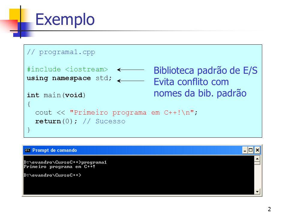 3 E/S básica A classe iostream contém os procedimentos de entrada e saída de dados.