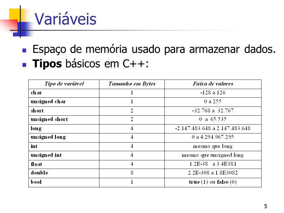 6 Variáveis Declaração: Tipo var1, var2,…,varn; Declaração com inicialização: Tipo var1 = val1, var2 = val2; Exemplos: char c1, s2 = ´a´; int i, j, k, n = 2, m = 3; double x = 2.0, y; bool novo = true;