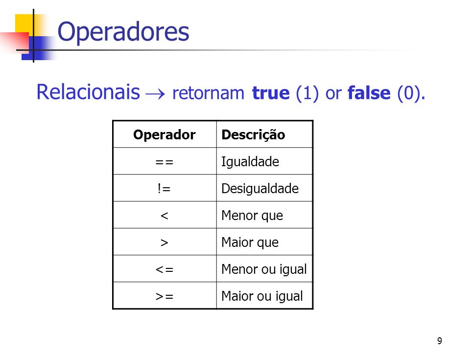9 Operadores Relacionais retornam true (1) or false (0).