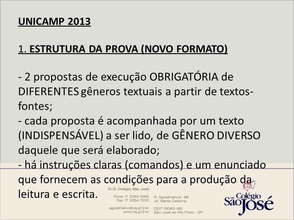 UNICAMP 2013 1. ESTRUTURA DA PROVA (NOVO FORMATO) - 2 propostas de execução OBRIGATÓRIA de DIFERENTES gêneros textuais a partir de textos- fontes; - c