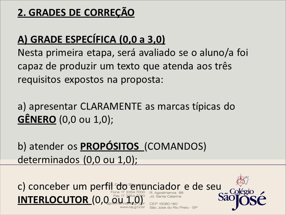 2. GRADES DE CORREÇÃO A) GRADE ESPECÍFICA (0,0 a 3,0) Nesta primeira etapa, será avaliado se o aluno/a foi capaz de produzir um texto que atenda aos t