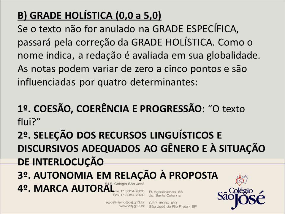B) GRADE HOLÍSTICA (0,0 a 5,0) Se o texto não for anulado na GRADE ESPECÍFICA, passará pela correção da GRADE HOLÍSTICA. Como o nome indica, a redação