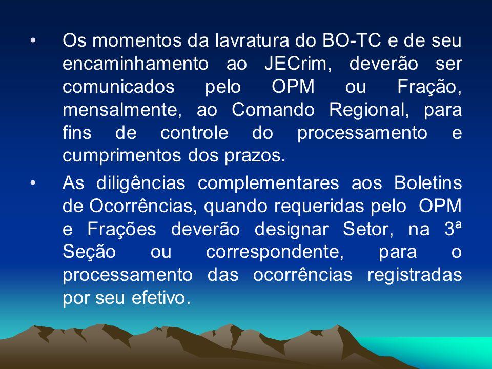 Os momentos da lavratura do BO-TC e de seu encaminhamento ao JECrim, deverão ser comunicados pelo OPM ou Fração, mensalmente, ao Comando Regional, par