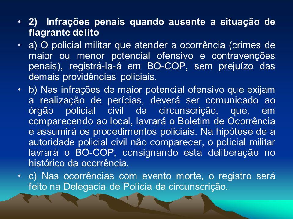 2) Infrações penais quando ausente a situação de flagrante delito a) O policial militar que atender a ocorrência (crimes de maior ou menor potencial o
