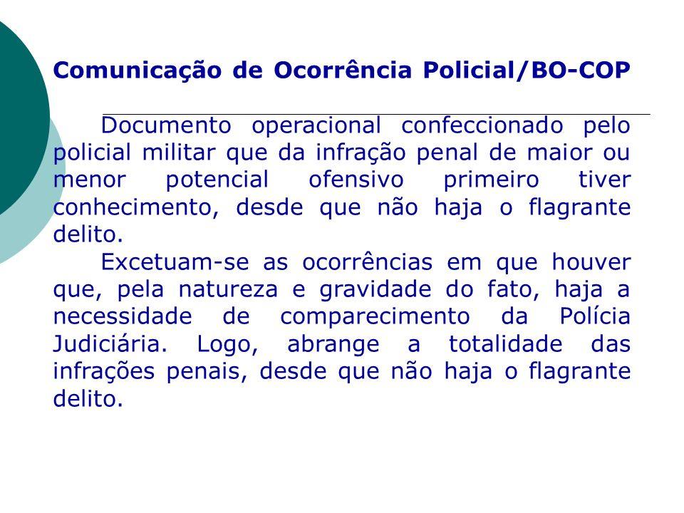 Comunicação de Ocorrência Policial/BO-COP Documento operacional confeccionado pelo policial militar que da infração penal de maior ou menor potencial