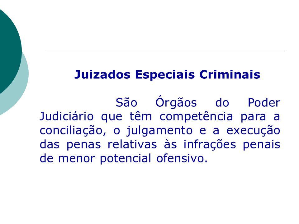 Juizados Especiais Criminais São Órgãos do Poder Judiciário que têm competência para a conciliação, o julgamento e a execução das penas relativas às i
